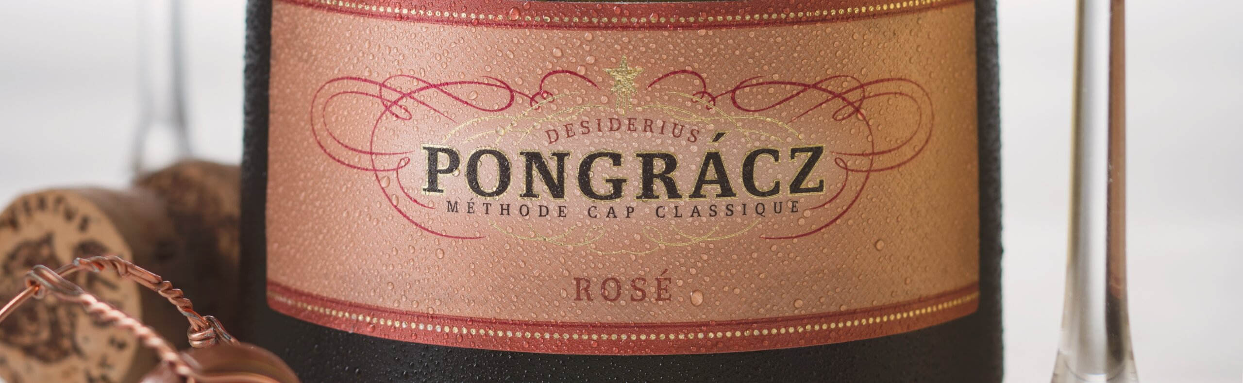Close-up shot of Pongracz Rosé chilled on ice.